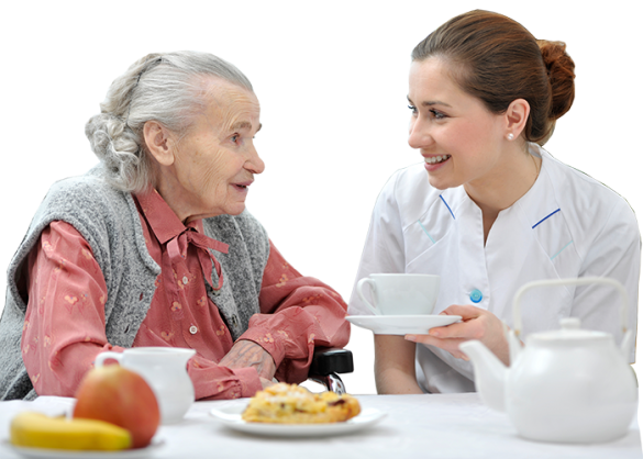 Elderly Lady having a cup of tea with a carer